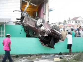 The car perched on the second floor this morning