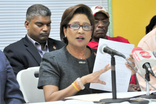 PM Kamla Persad-Bissessar at yesterday's press conference