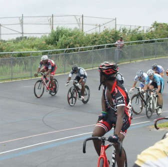 Some of the action during the Labor Day weekend events at the velodrome.