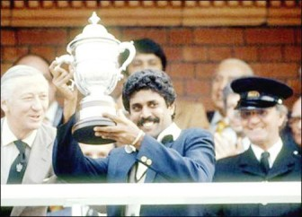 Kapil Dev with the 1983 World Cup trophy.
