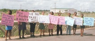 Stabroek News staffers protesting against the ads cut-off on October 15, 2007 (SN file photo)