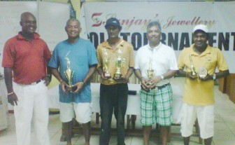 Brian Hackett (President of the Lusignan golf Club), Mark Lashley, Deonarine Dinnanauth (winner), Hilbert Shields and Sookram Deosarran.