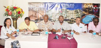 Members of the head table at the Princess Hotel yesterday. From right are Clive Lloyd, John Ramsingh, Barry Wilkinson, Andrew Mason, Ramsey Ali and Andrea Hing of Princess Hotel. (Orlando Charles photo)