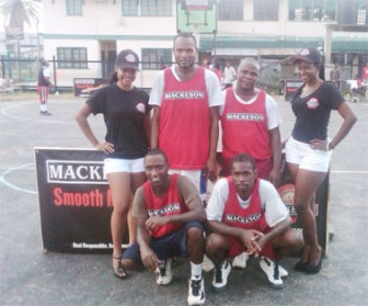 Gladiators pose for a photo opportunity with the Mackeson girls.