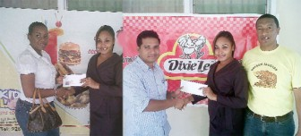 In the composite picture above, Secretary of the Kashif and Shanghai Organisation, Sonia Stanislaus, receives the donations from Senobia Butcher of Café Paradise and at right from Leonard Butcher of the Canadian Fast Food Franchise, Dixie Lee.