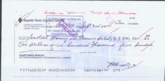 A copy of Mortimer Mingo's cheque