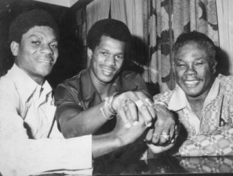 Esteemed company! Patrick Forde (left) is pictured in happier times with Cliff Anderson (right) and his brother Reginald Forde.