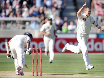 GONE! Peter Siddle removes Sachin Tendulkar shortly before the close of play for 73.