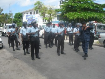 Police on Brickdam during the confrontation