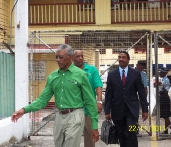 David Granger leaving the Brickdam Police Station today after speaking to the police