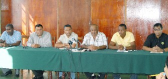 Members of the head table at the GCB press conference yesterday from left, Alfred Mentore, Raj Singh, Anand Sanasie, Fizul Bacchus, Christopher Barnwell and Robin Singh. (Orlando Charles photo)