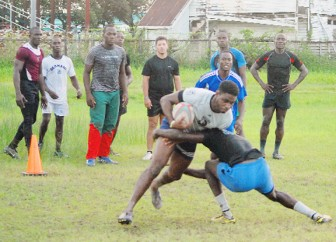 Players of the national rugby team in practice at the National Park on Tuesday.