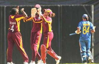 Shakera Selman celebrates the wicket of Harmanpreet Kaur (Randy Brooks/windiescricket.com photo)
