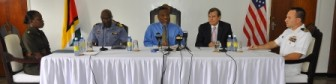From left to right: Major Loraine Foster; Guyana Defence Force Chief of Staff, Commodore Gary Best; Prime Minister Samuel Hinds, American Ambassador D. Brent Hardt and Lieutenant Ryan Brooks at the press conference today.