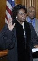 Pam Jackman-Brown taking the oath