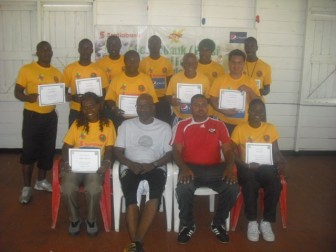 The 14 successful coaches after the conclusion of the football coaches course on Friday.