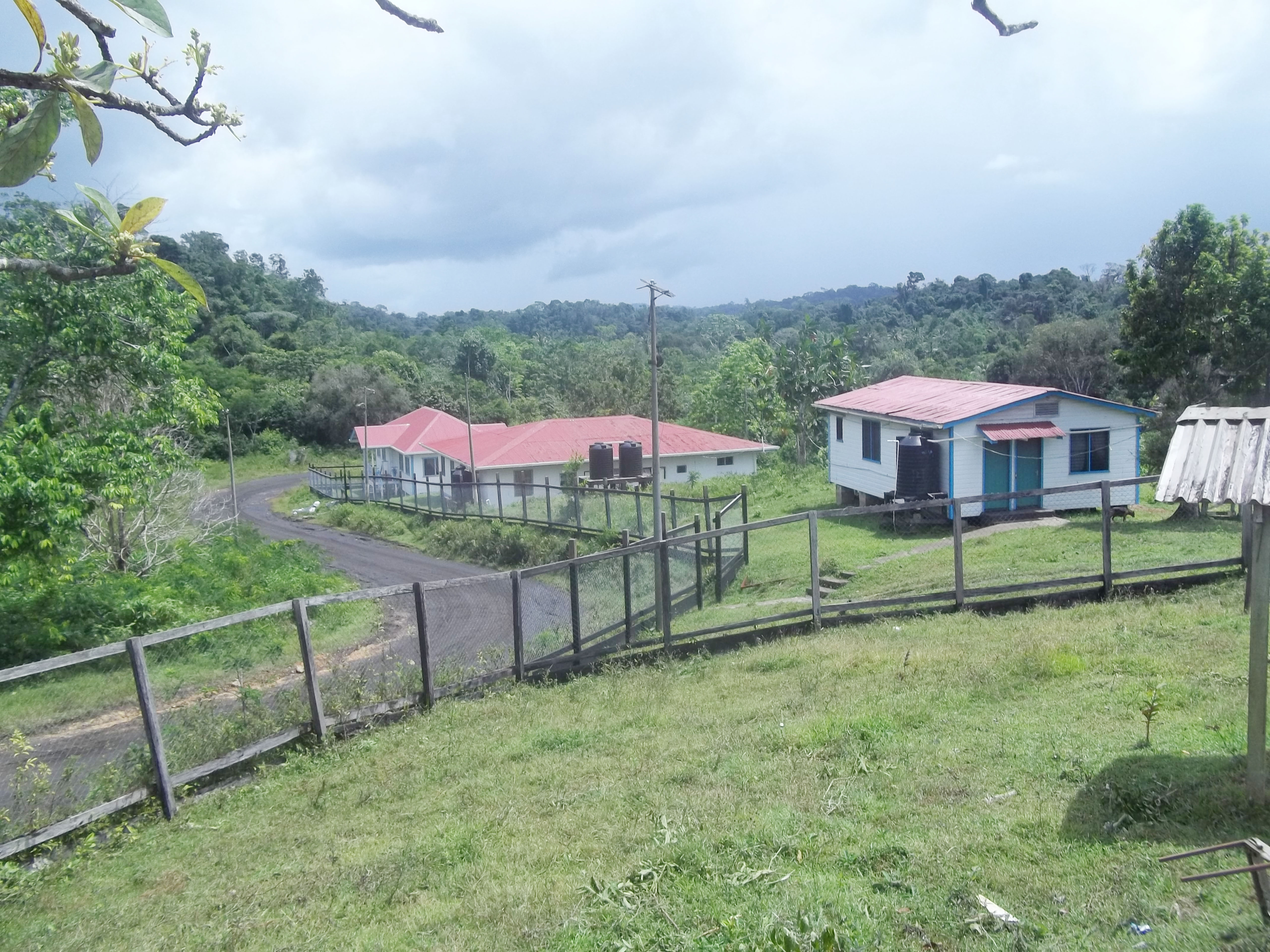 A hill-top view of the nurses living quarters in the hospital compound at Pekera,Matthew's Ridge.