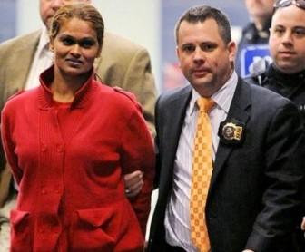 Leila Rajnarine being taken into custody today