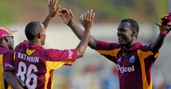 West Indies celebrate the match-clinching wicket of Brett Lee, who made a career-best 59