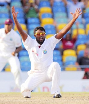 Narsingh Deonarine was the star performer with the ball yesterday grabbing four wickets as the West Indies fought to the end. (DigicelCricket.com/Brooks La Touche photo)