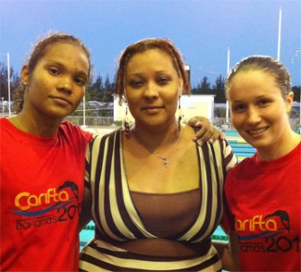 Jessica Stephenson, right and Britany van Lange flank coach Shyka Gonsalves.