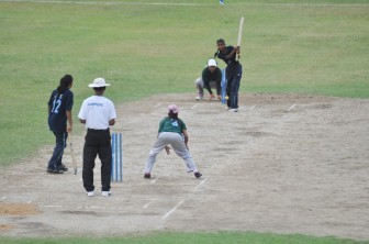 Capoey Rising Stars batter Romey Persaud is about to be caught by successful bowler Tanisha Isahack who ended with 4-4.
