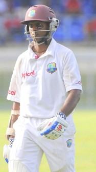 Shivnarine Chanderpaul  walks off disappointed after falling a mere six runs away from his 26th Test Century. (Photo Courtesy DigicelCricket.com/Brooks LaTouche)