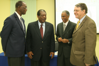 President of the Caribbean Court of Justice Sir Dennis Byron, second from left, chats with Justice Rolston Nelson, left, Justice Jacob Wit and Justice Adrian Dudley Saunders, during a breakfast meeting held at the CCJ headquarters on Henry Street, Port-of-Spain, on Tuesday. (Trinidad Guardian photo)