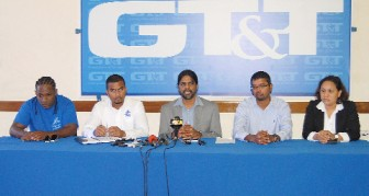 From left, Hits and Jams' Kerwin Bollers, Tournament Coordinator Richard Sukhdeo, Chief Executive Officer Yog Mahadeo, Chief Financial Officer Royston Rachpaul and Chairperson Nadia De Abreu at yesterday's press briefing. (Orlando Charles photo)