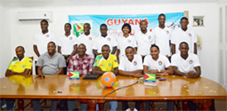 Some members of Guyana and Trinidad beach football teams at yesterday's media conference at the Guyana Football Federation office.