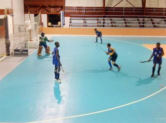 Indoor hockey action