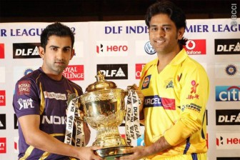 Gautam Gambhir and MS Dhoni pose with the IPL trophy. The final is being played today between the Kolkata Knight Riders and the Chennai Super Kings
