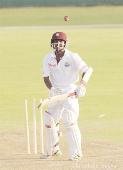 West Indies `A' team skipper Veerasammy Permaul is bowled all ends up by Ashok Dinda.(Randy Brooks/Windiescricket.com)
