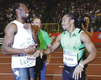 Usain Bolt, left and training partner Yohan Blake are friends off court and competitors on it.