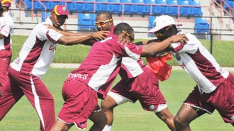 The West Indies team at yesterday's training session.