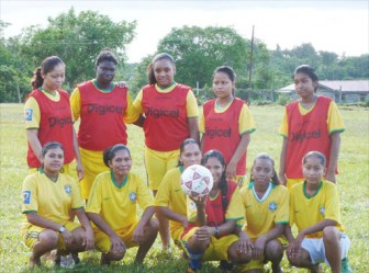 The Mabaruma female football team. Rhona Douglas is standing second from left, Minerva Fitzpatrick is stooping second from right and Keifica James is stooping third from right.