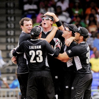 GAME ON! The New Zealand team, above, kept alive their hopes of a come-from-behind win in the Digicel One-Day Series against the West Indies with an 88-run win yesterday in St. Kitts.  (WindiesCricket.com photo)