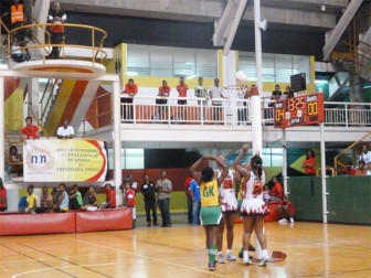The Guyana Netball team at the march past on Saturday at the indoor court of the Hasley Crawford Stadium. (Iva Wharton photo)