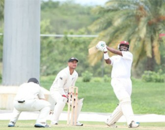 Narsingh Deonarine hits out during his innings of 106 yesterday. (Windiescricket.com)