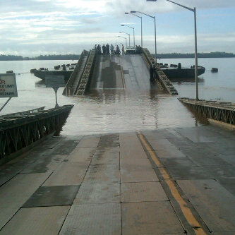 The collapsed section of the Demerara Harbour Bridge today