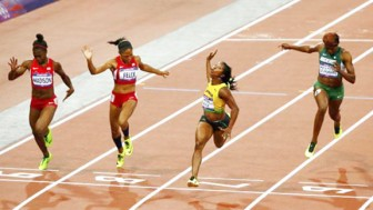 Jamaica's Shelly-Ann Fraser Pryce wins the women's 100m final at the London 2012 Olympic Games at the Olympic Stadium yesterday. REUTERS/DAVID GRAY