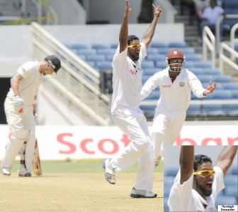 Narsingh Deonarine appeals successfully for Brendan  McCullum's wicket on yesterday's third day of the second Digicel test match between the West Indies and New Zealand at Sabina Park, Jamaica. Photo courtesy DigicelCricket.com/Brooks LaTouche
