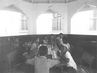 Some of the players involved in the 10-day chess programme at the library conducted by Roy Sharma.