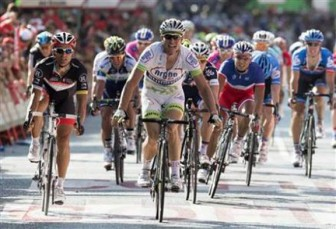 Argos-Shimano rider John Degenkolb of Germany crosses the finish line to win the fifth stage of the Tour of Spain ''La Vuelta'' cycling race in Logrono yesterday. REUTERS/Felix Ordonez.