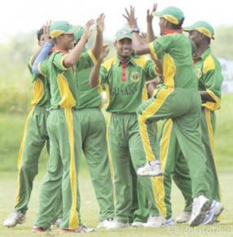 The Guyana One-day cricket team celebrate the fall of  a wicket in one of the previous rounds of the U-19 competition. The team, which ha a bye in today's final round, will await the outcome of the final round to know whether they will run out winners of the one Day competition.