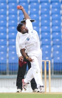 Permaul in action! Left-arm spinner Veerasammy Permaul was the most successful Sagicor HPC bowler with three wickets. © WICB Media
