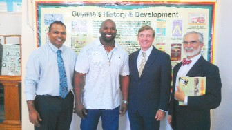 "Jackson with Minister Frank Anthony & US Ambassador Brent Hardt at the launching of ""Heritage Guyana"" at the National Museum"