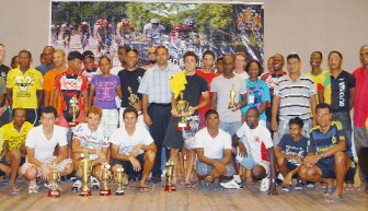 Minister of Sport, Dr. Frank Anthony,(centre) shares a photo opportunity with the winners and runners up at the National Culture Centre following the conclusion of the event yesterday. (Orlando Charles photo)