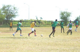 The first Inter-Guiana Games practice match in progress yesterday morning at the Carifesta Sports Complex ground, Carifesta Avenue.