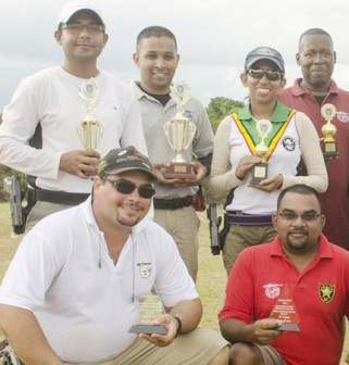 Dr. Johan DaSilva with other prize winners at the NARIL sponsored pistol shooting competition.